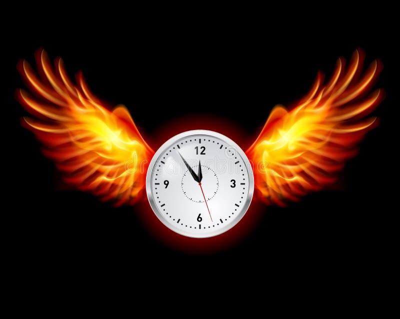 'Ένδειξη ώρασ' με τα φτερά πυρκαγιάς ελεύθερη απεικόνιση δικαιώματος