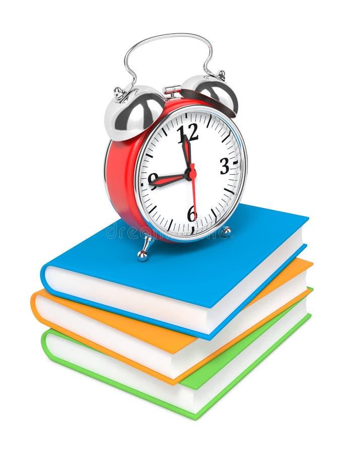 'Ένδειξη ώρασ' συναγερμών στο σωρό των βιβλίων. απεικόνιση αποθεμάτων