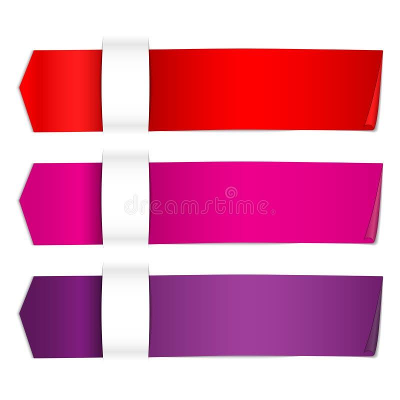 3 ένθετο κορδελλών χρώματος κάτω από το χάσμα εγγράφου με τη σκιά και το φως ελεύθερη απεικόνιση δικαιώματος