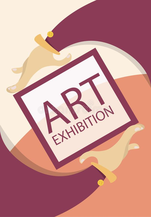 Έννοια έκθεσης τέχνης Χέρια κινούμενων σχεδίων με το πλαίσιο Ζωηρόχρωμη επίπεδη αφίσα r απεικόνιση αποθεμάτων