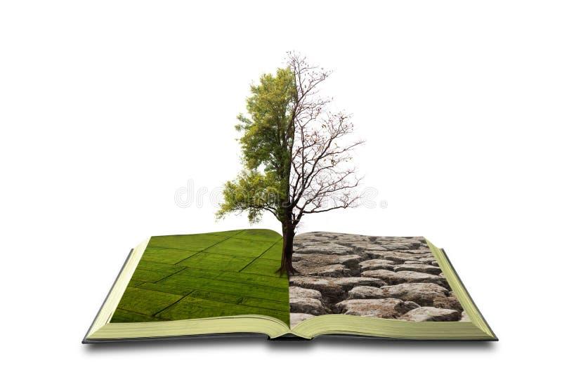 Έννοια ένα ανοικτό βιβλίο Διπολικότητα Σε μια πλευρά, φύση, σε μια άλλη αιθαλομίχλη και μια ξηρασία στοκ φωτογραφία με δικαίωμα ελεύθερης χρήσης