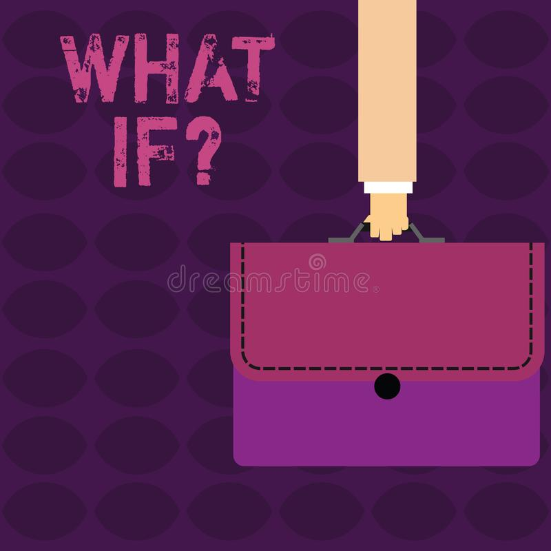 Κείμενο γραφής τι εάν ερώτηση Έννοια έννοιας όταν ρωτάτε για το χέρι επιχειρηματιών όρου ή υπόθεσης διανυσματική απεικόνιση