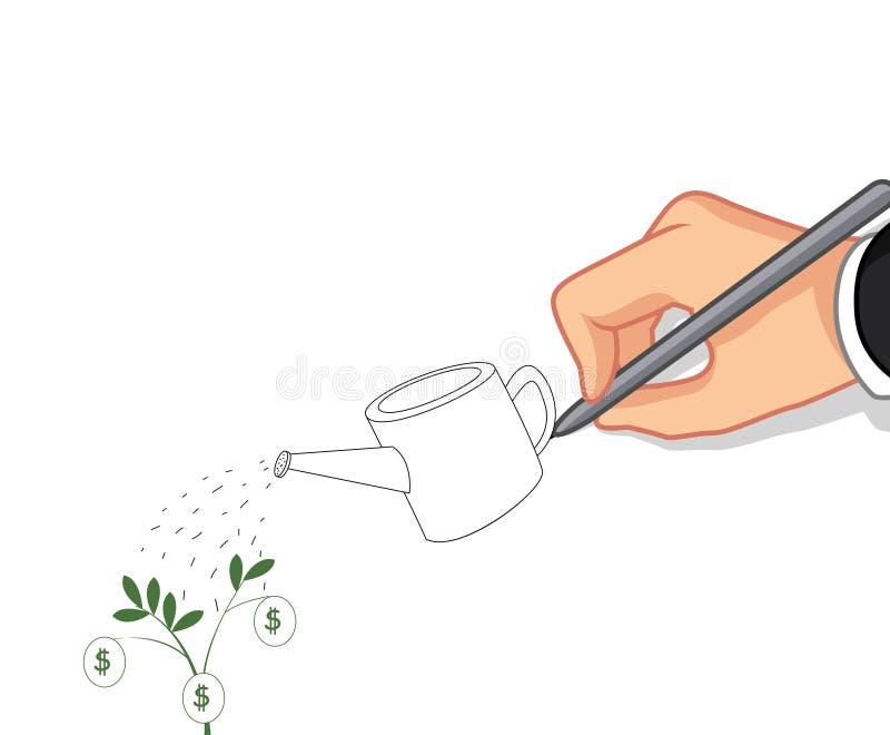 Έννοια δέντρων χρημάτων γραψίματος χεριών απεικόνιση αποθεμάτων