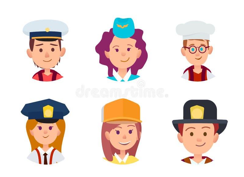 Έννοια έξι παιδιών στα διαφορετικά επαγγέλματα απεικόνιση αποθεμάτων