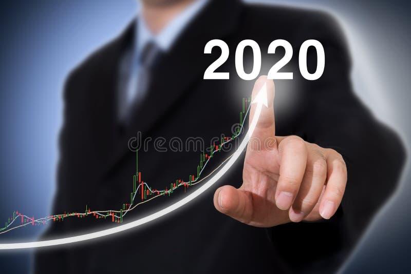 Έννοια έτους εξέλιξης και αύξησης 2020 Νέα έννοια έτους επιχειρηματιών στοκ εικόνες