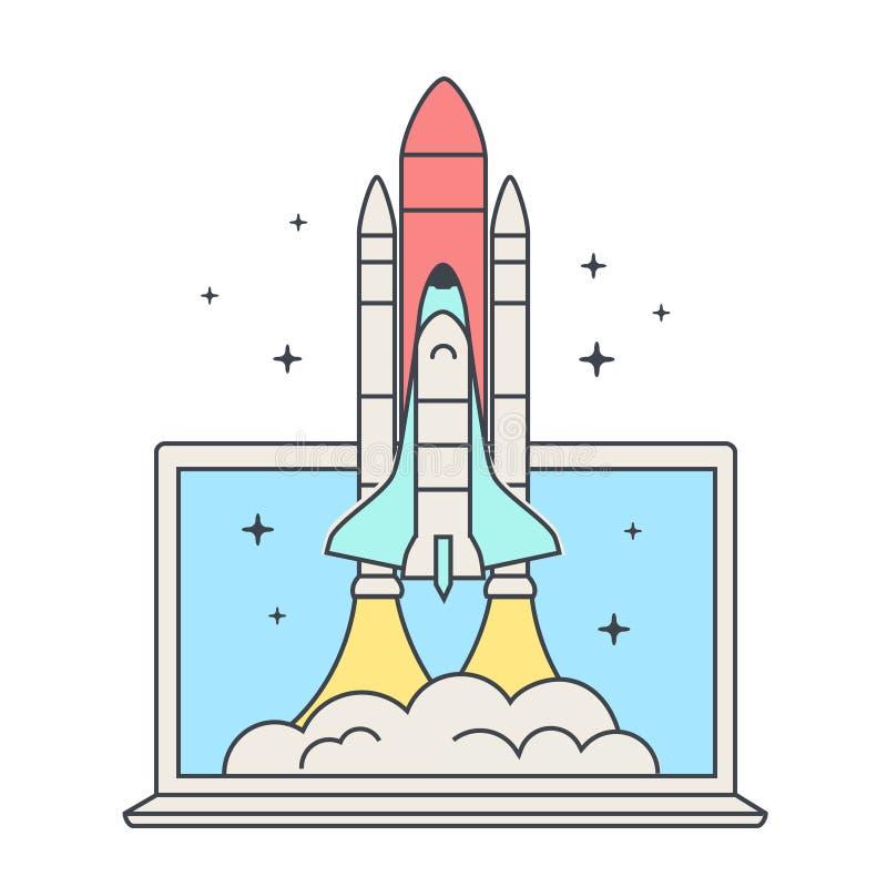 Έννοια ίδρυσης επιχείρησης Ιστού Έναρξη διαστημικών λεωφορείων Διαστημόπλοιο και lap-top Το διαστημικό λεωφορείο απογειώνεται ελεύθερη απεικόνιση δικαιώματος