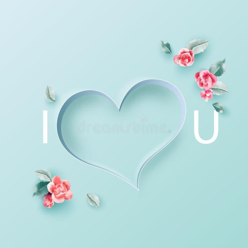 Έννοια αγάπης, Valentine& x27 υπόβαθρο ημέρας του s ανθίστε το πλαίσιο επίσης corel σύρετε το διάνυσμα απεικόνισης Ταπετσαρία, πρ διανυσματική απεικόνιση