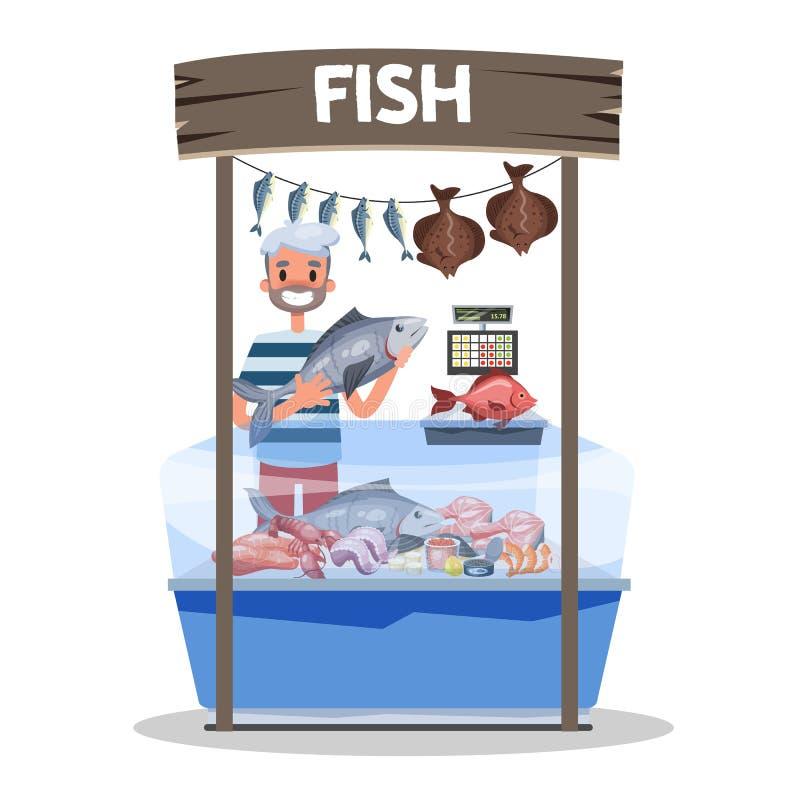 Έννοια αγοράς ψαριών Θαλασσινά πίσω από την προθήκη και τον πωλητή ελεύθερη απεικόνιση δικαιώματος