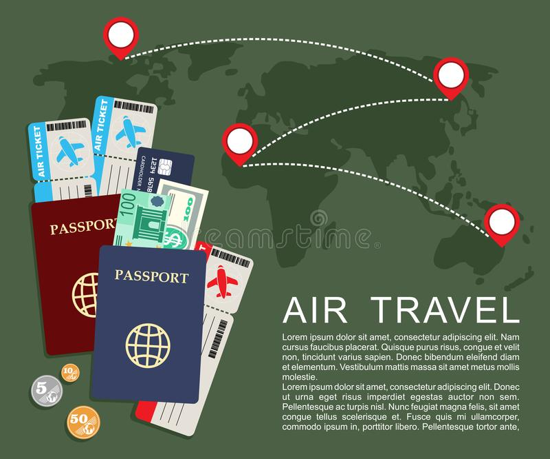 Έννοια αεροπορικού ταξιδιού Παγκόσμιος χάρτης, εισιτήρια αερογραμμών και διαβατήρια διανυσματική απεικόνιση