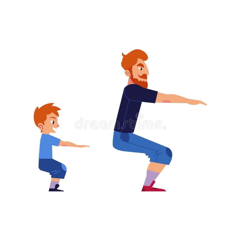 Έννοια αθλητικών οικογενειών με τον πατέρα και το γιο που κάνουν τις ασκήσεις και στάση οκλαδόν που απομονώνεται στο άσπρο υπόβαθ απεικόνιση αποθεμάτων