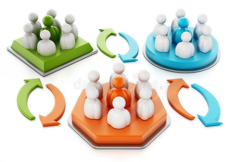 Έννοια αλλαγής ανθρώπων επιχειρησιακών ομάδων τρισδιάστατη απεικόνιση απεικόνιση αποθεμάτων