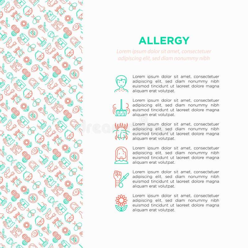 Έννοια αλλεργίας με τα λεπτά εικονίδια γραμμών: runny μύτη, σκόνη, ρέοντας μάτια, αδιαλλαξία λακτόζης, εσπεριδοειδή, θαλασσινά, γ ελεύθερη απεικόνιση δικαιώματος