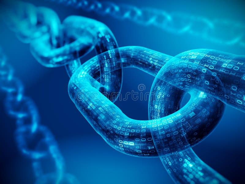 Έννοια αλυσίδων φραγμών - ψηφιακή αλυσίδα κώδικα ελεύθερη απεικόνιση δικαιώματος