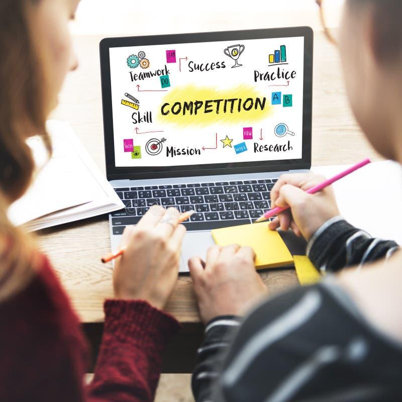 Έννοια ανάπτυξης επιτυχίας στόχου στόχου ανταγωνισμού στοκ εικόνες