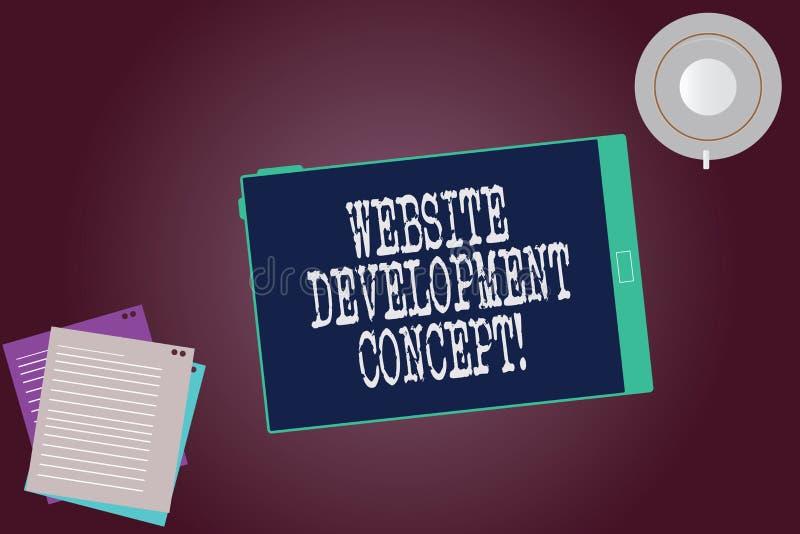 Έννοια ανάπτυξης ιστοχώρου κειμένων γραψίματος λέξης Επιχειρησιακή έννοια για την ανάπτυξη ενός ιστοχώρου για το κενό φλυτζάνι οθ ελεύθερη απεικόνιση δικαιώματος