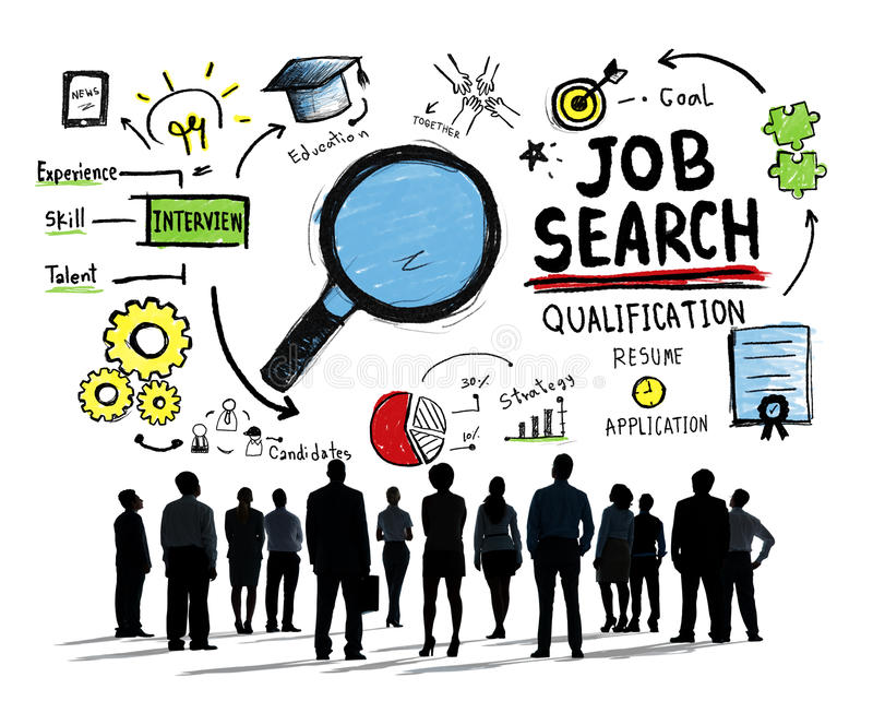 Έννοια αναζήτησης εργασίας φιλοδοξίας συζήτησης επιχειρηματιών απεικόνιση αποθεμάτων