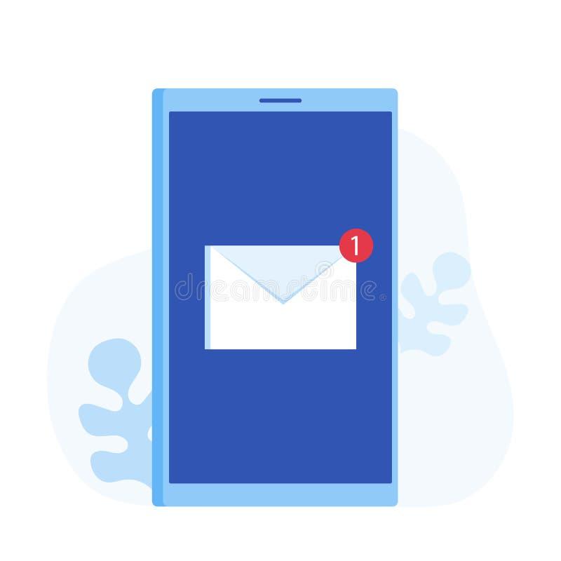 Έννοια ανακοίνωσης ηλεκτρονικού ταχυδρομείου Νέο ηλεκτρονικό ταχυδρομείο στην οθόνη smartphone Σύγχρονη διανυσματική απεικόνιση σ απεικόνιση αποθεμάτων