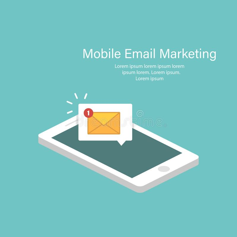 Έννοια ανακοίνωσης ηλεκτρονικού ταχυδρομείου στο isometric σχέδιο Νέα sms στο smartphone Απεικόνιση στο επίπεδο σχέδιο r απεικόνιση αποθεμάτων