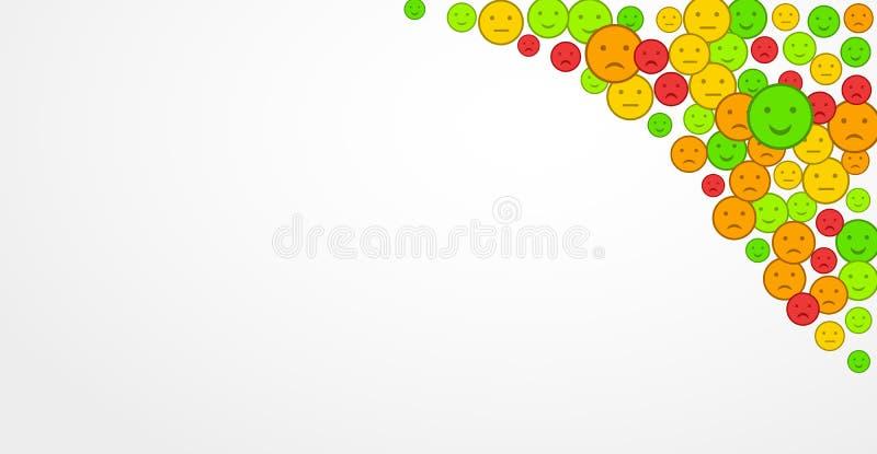 Έννοια ανατροφοδότησης Ποιοτική αξιολόγηση εξυπηρέτησης πελατών, ικανοποίηση Η λυπημένη, ευτυχής, η διάθεση emoticons έθεσε Επίπε διανυσματική απεικόνιση