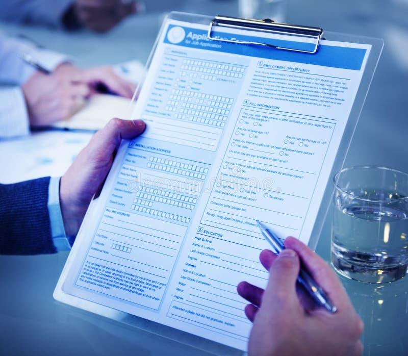 Έννοια απασχόλησης συνέντευξης εργασίας αίτησης υποψηφιότητας στοκ φωτογραφία
