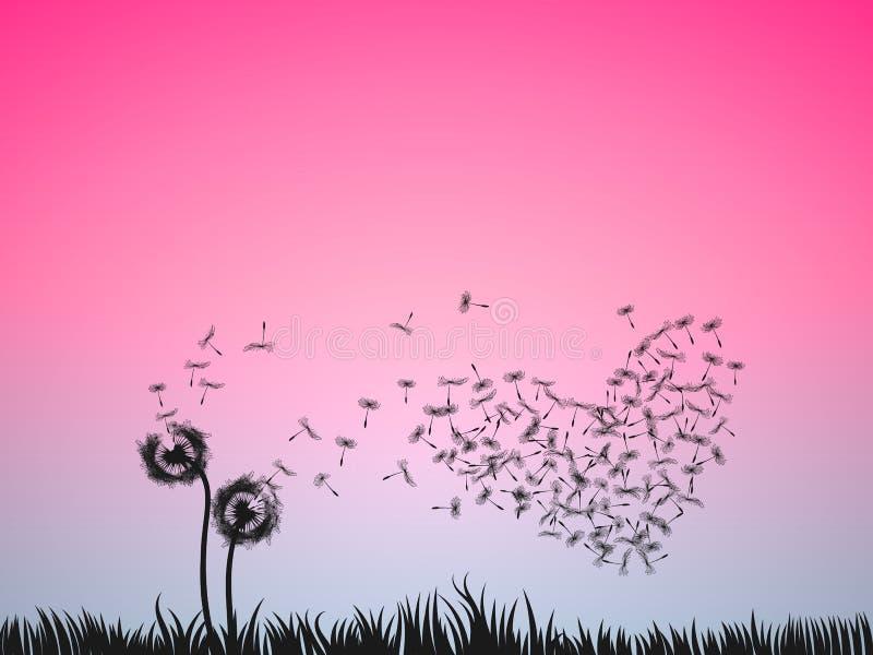 Έννοια απεικόνισης αγάπης, χτύπημα δύο λουλουδιών πικραλίδων στην καρφίτσα διανυσματική απεικόνιση