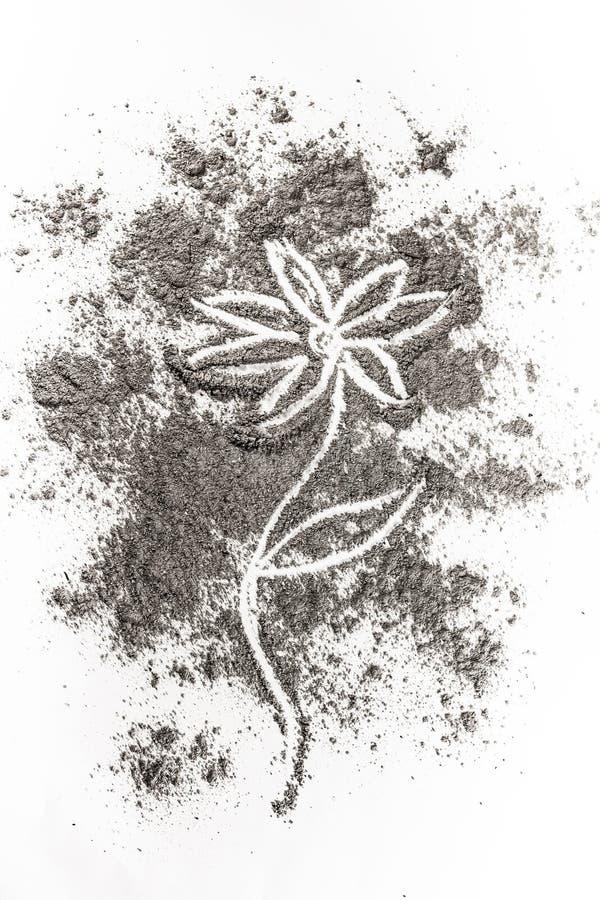 Έννοια απεικόνισης σχεδίων λουλουδιών στην τέφρα, σκόνη, ρύπος απεικόνιση αποθεμάτων