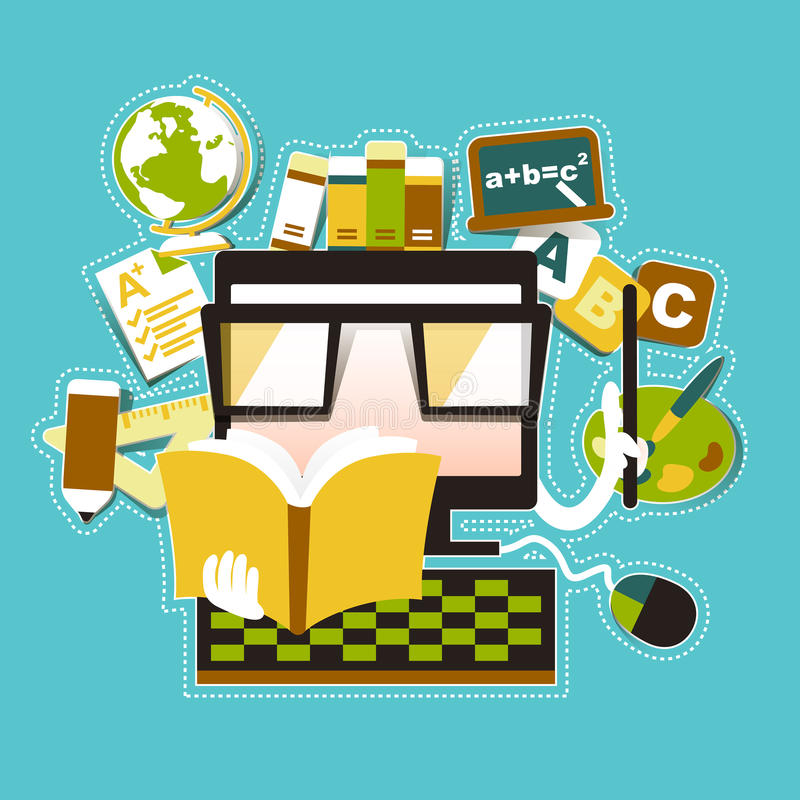 Έννοια απεικόνισης της σε απευθείας σύνδεση ε-εκμάθησης εκπαίδευσης απεικόνιση αποθεμάτων
