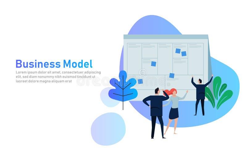 Έννοια απεικόνισης το άτομο παρόν με τον καμβά επιχειρησιακών προτύπων whiteboard απεικόνιση επίπεδη εργασία ομάδων μαζί όπως διανυσματική απεικόνιση