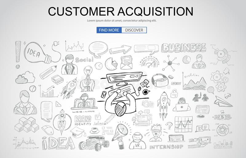 Έννοια αποκτήσεων πελατών με το ύφος σχεδίου επιχειρησιακού Doodle: απεικόνιση αποθεμάτων