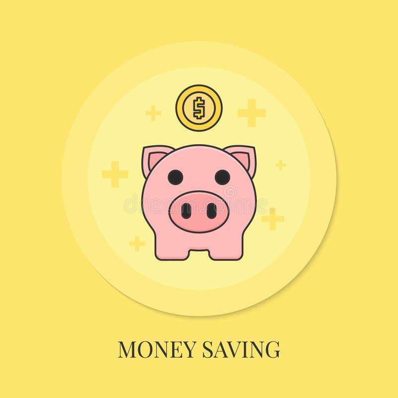 Έννοια αποταμίευσης χρημάτων με τη piggy τράπεζα διανυσματική απεικόνιση