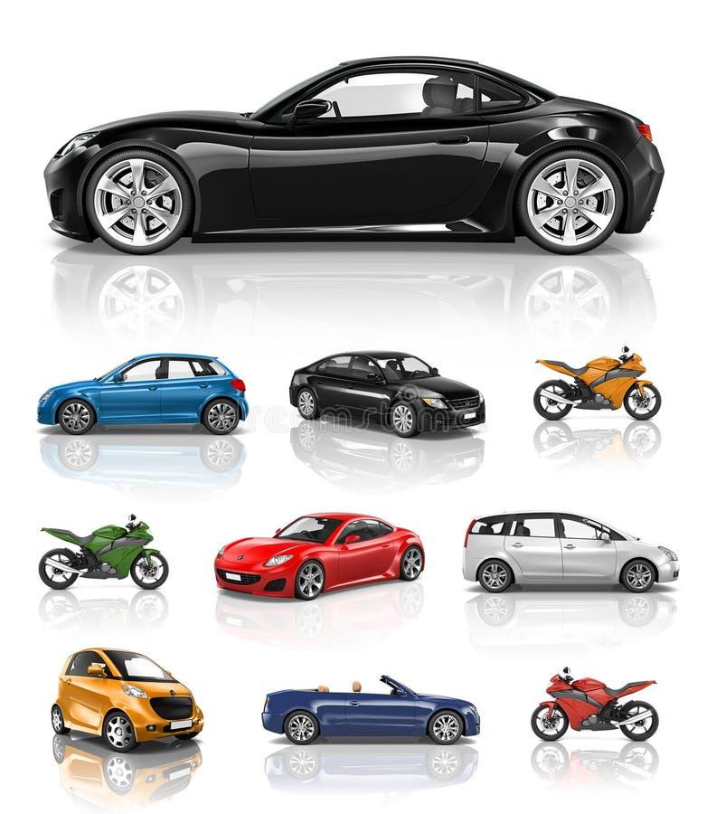 Έννοια απόδοσης μοτοσικλετών αυτοκινήτων οχημάτων μεταφορών διανυσματική απεικόνιση