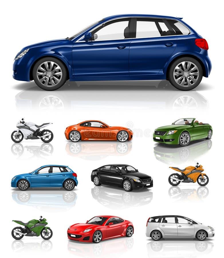 Έννοια απόδοσης μοτοσικλετών αυτοκινήτων οχημάτων μεταφορών απεικόνιση αποθεμάτων