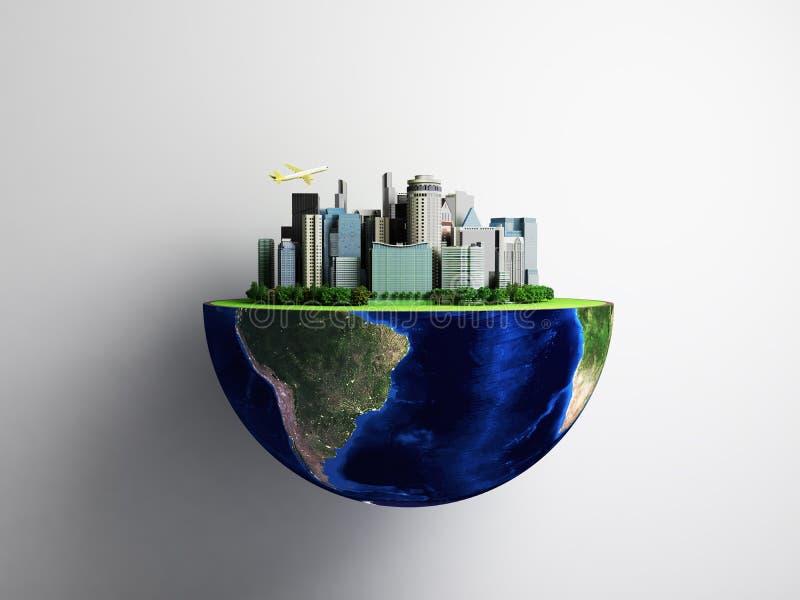 Έννοια αστικοποίησης με τη σφαίρα και την πόλη στο αφηρημένο πράσινο backg διανυσματική απεικόνιση