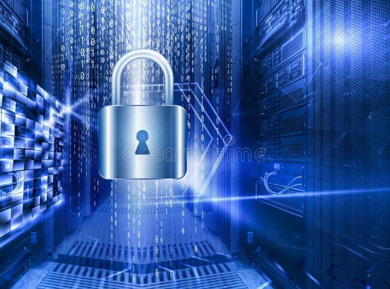 Έννοια ασφάλειας αποθήκευσης βάσεων δεδομένων Δίσκος με την κλειδαριά στο δωμάτιο με τις σειρές του υλικού κεντρικών υπολογιστών  ελεύθερη απεικόνιση δικαιώματος