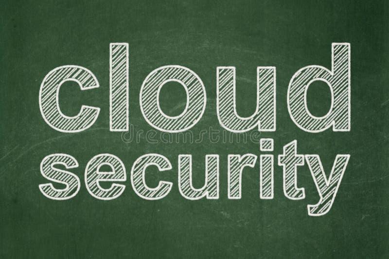 Έννοια ασφάλειας: Ασφάλεια σύννεφων στο υπόβαθρο πινάκων κιμωλίας στοκ εικόνες με δικαίωμα ελεύθερης χρήσης