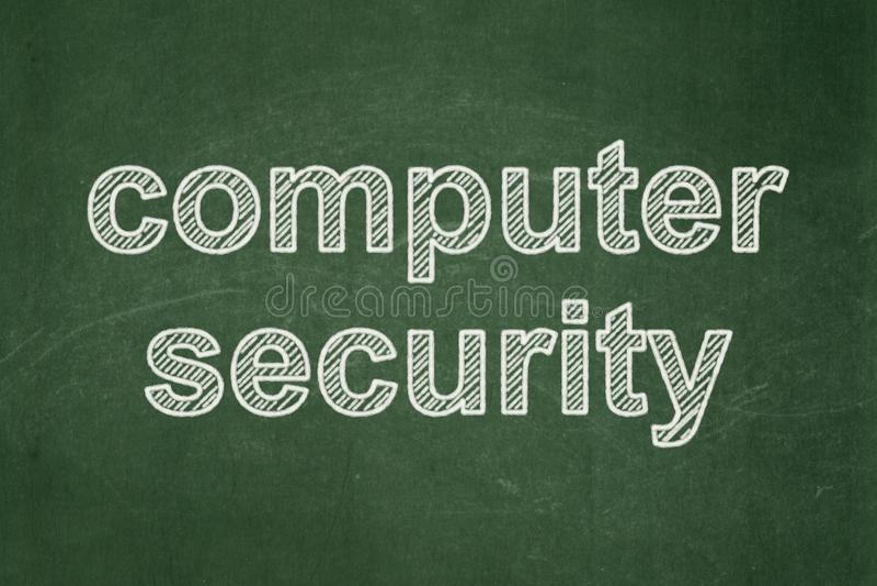 Έννοια ασφάλειας: Ασφάλεια υπολογιστών στο υπόβαθρο πινάκων κιμωλίας στοκ φωτογραφία