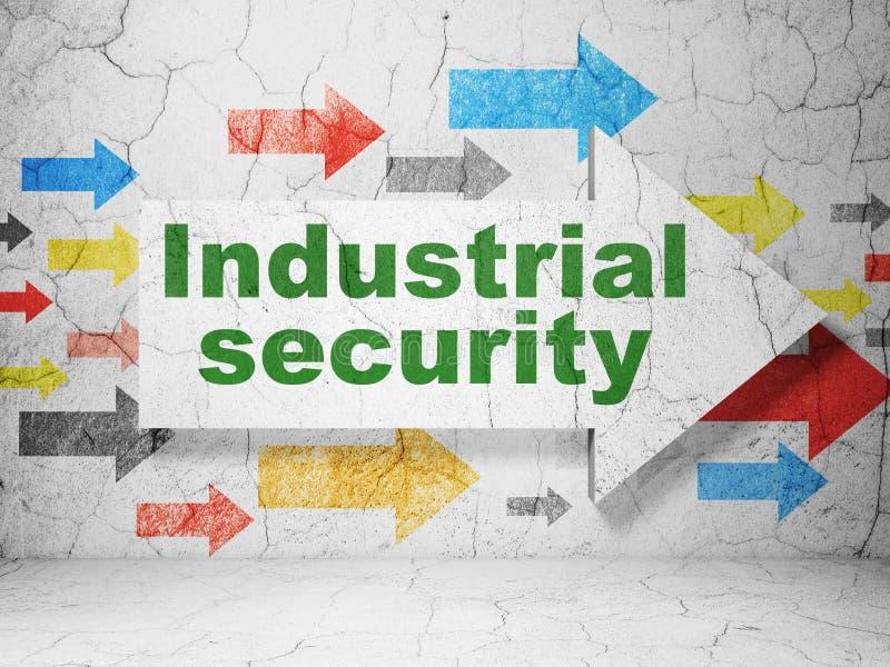 Έννοια ασφάλειας: βέλος με τη βιομηχανική ασφάλεια στο υπόβαθρο τοίχων grunge διανυσματική απεικόνιση