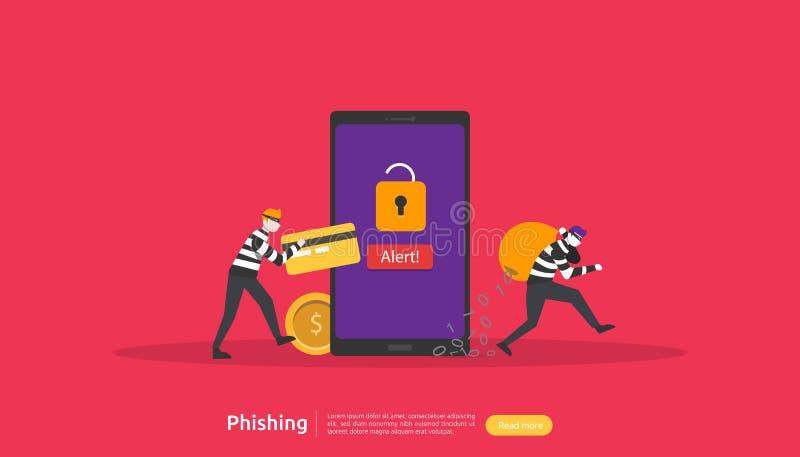 έννοια ασφάλειας Διαδικτύου με το μικροσκοπικό χαρακτήρα ανθρώπων phishing επίθεση κωδικού πρόσβασης stealing προσωπικά στοιχεία  διανυσματική απεικόνιση