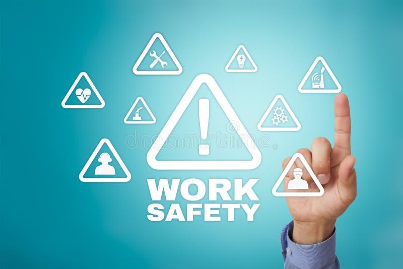 Έννοια ασφάλειας εργασίας στη virual οθόνη στοκ εικόνες