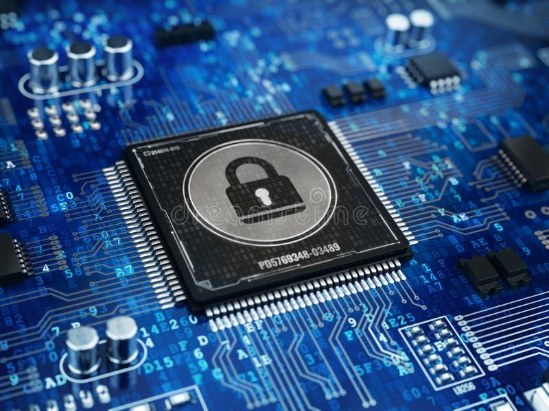 Έννοια ασφάλειας υπολογιστών - κλειδαριά στο τσιπ μικροεπεξεργαστών υπολογιστών απεικόνιση αποθεμάτων