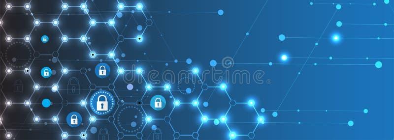 Έννοια ασφάλειας τεχνολογίας Σύγχρονο ψηφιακό υπόβαθρο ασφάλειας διανυσματική απεικόνιση
