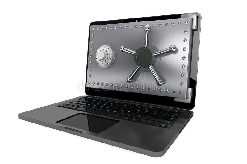 Έννοια ασφάλειας υπολογιστών. Lap-top με την ασφαλή πόρτα στοκ φωτογραφία