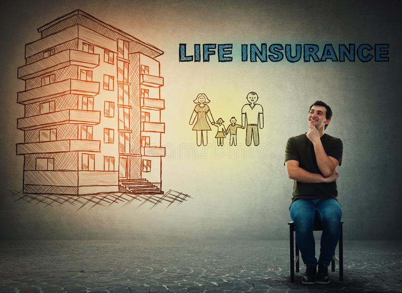 Έννοια ασφαλείας ζωής, σπίτι και ευτυχής οικογένεια απεικόνιση αποθεμάτων