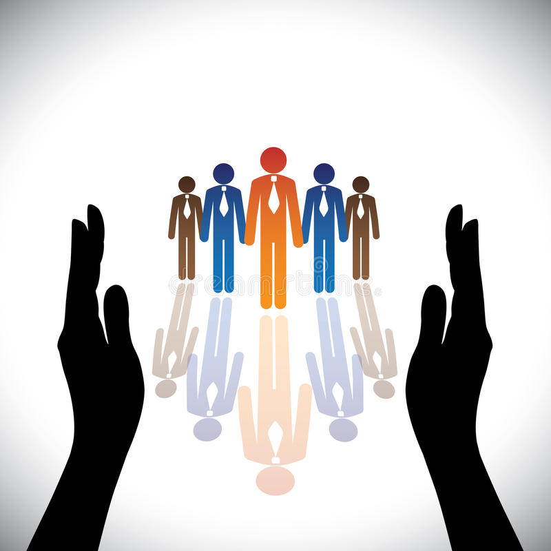 Έννοια ασφαλής (προστατεύστε) εταιρικοί υπάλληλοι επιχείρησης, ανώτεροι υπάλληλοι ελεύθερη απεικόνιση δικαιώματος