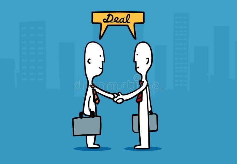 Έννοια ατόμων επιχειρήσεων: Η επιχείρηση δύο επανδρώνει τα χέρια τινάγματος ασχολείται μια επιχείρηση διανυσματική απεικόνιση