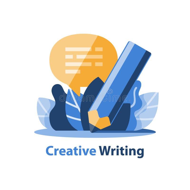 Έννοια αφήγησης, δημιουργικό γράψιμο, μολύβι και λεκτική φυσαλίδα διανυσματική απεικόνιση