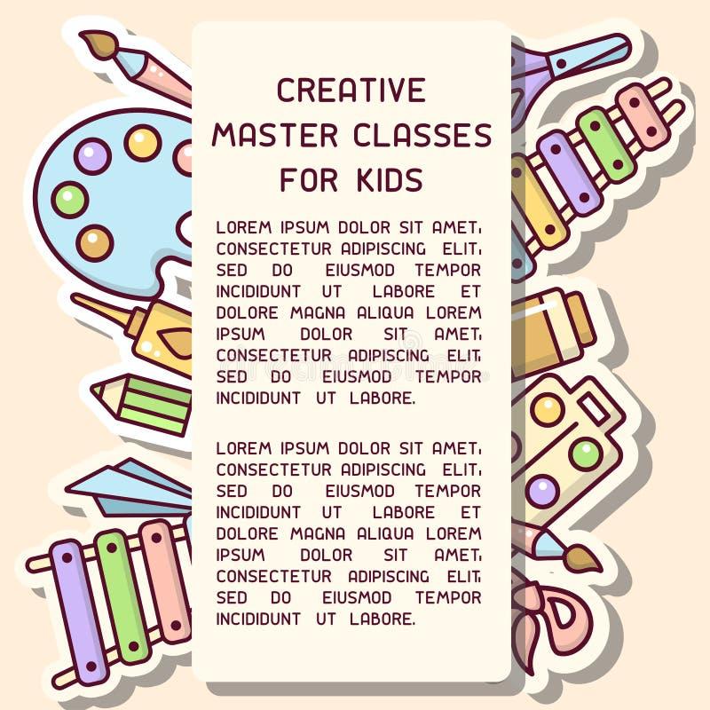Έννοια αφισσών με τα πράγματα για τη δημιουργική δραστηριότητα παιδιών και τις κύριες πληροφορίες κατηγοριών απεικόνιση αποθεμάτων
