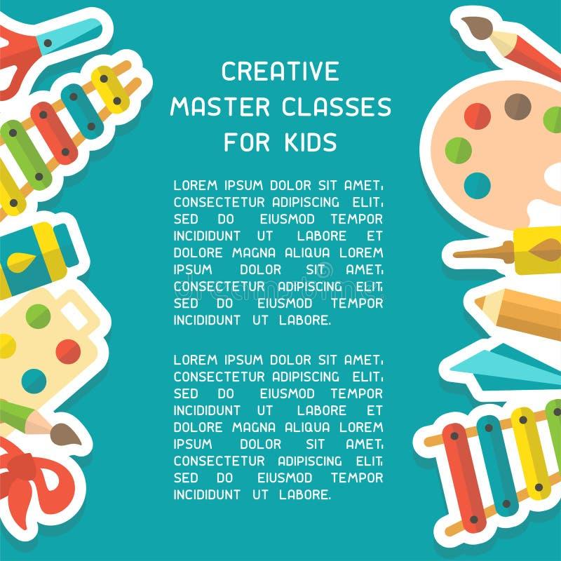 Έννοια αφισών με τα πράγματα για τη δημιουργική δραστηριότητα παιδιών και τις κύριες πληροφορίες κατηγοριών απεικόνιση αποθεμάτων