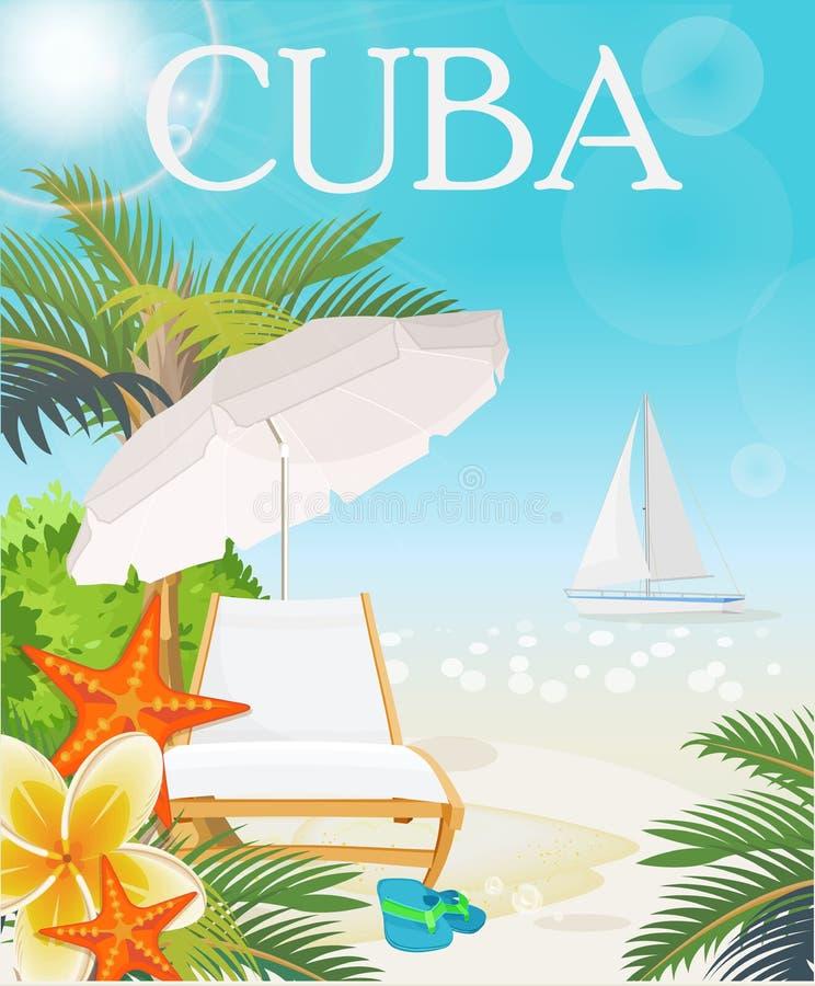 Έννοια αφισών ταξιδιού της Κούβας Διανυσματική απεικόνιση με τον κουβανικό πολιτισμό διανυσματική απεικόνιση