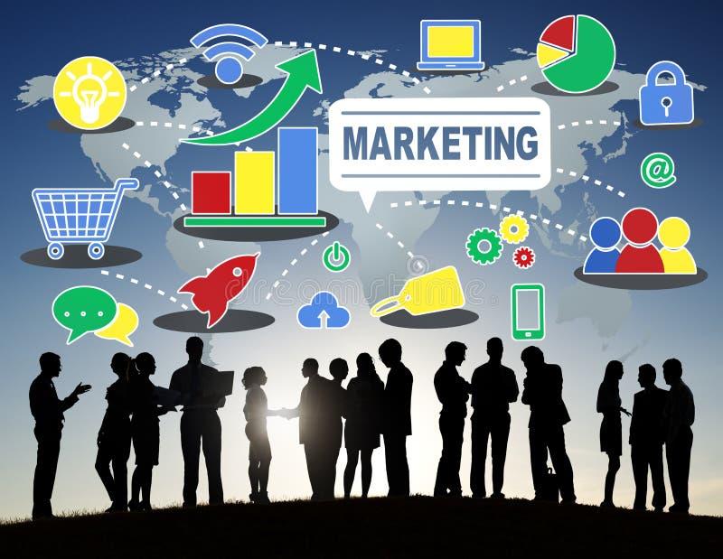 Έννοια αύξησης σύνδεσης επιχειρησιακού μαρκαρίσματος μάρκετινγκ σφαιρική ελεύθερη απεικόνιση δικαιώματος